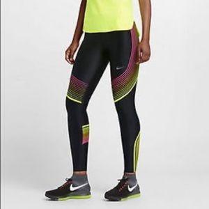Nike Womens Power Speed Running Tights Black Multi